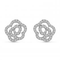 14K Yellow Gold Diamond Petite Flower Stud Earrings