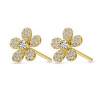 14K Yellow Gold Diamond Pave Flower Stud Earrings