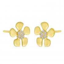 14K Yellow Gold Brushed Gold Diamond Flower Earrings
