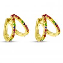 14K Yellow Gold Double Row Rainbow Sapphire Huggie Earrings