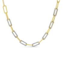 14K Yellow Gold Alternating Diamond Link Paper Clip Necklace
