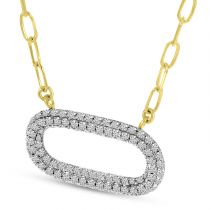 14K Yellow Gold Pave Diamond Paperclip Necklace
