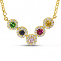 14K Yellow Gold Diamond Halo Rainbow Sapphire V Necklace
