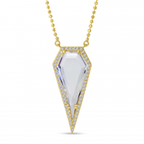 14K Yellow Gold Diamond Shape White Topaz and diamond Necklace