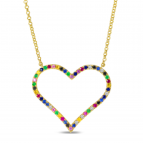 14K Yellow Gold Rainbow Sapphire Large Open Heart Necklace