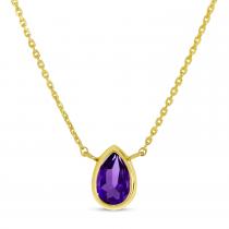 14K Yellow Gold Pear Amethyst Birthstone Necklace