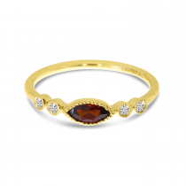 14K Yellow Gold Marquise Garnet and Diamond Semi Precious Stackable Ring